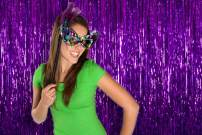 Mardi Gras Party Supplis Purple Foil Fringe Tinsel 3 x 8 Feet Metallic Curtains 4 Pack Photo Booth Props Backdrop for the Under Sea Baby Shower Party Birthday Bridal Shower Graduation Decorations