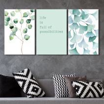 3 Panel Watercolor Style Leaves with Life if Full of Possibilities Quotes Gallery 16 x24 x 3 Panels