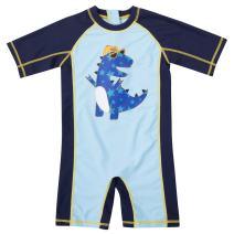 Vegatos Baby Boys Girls Zip One Piece Swimsuit Short Sleeve Rash Guard Swimwear