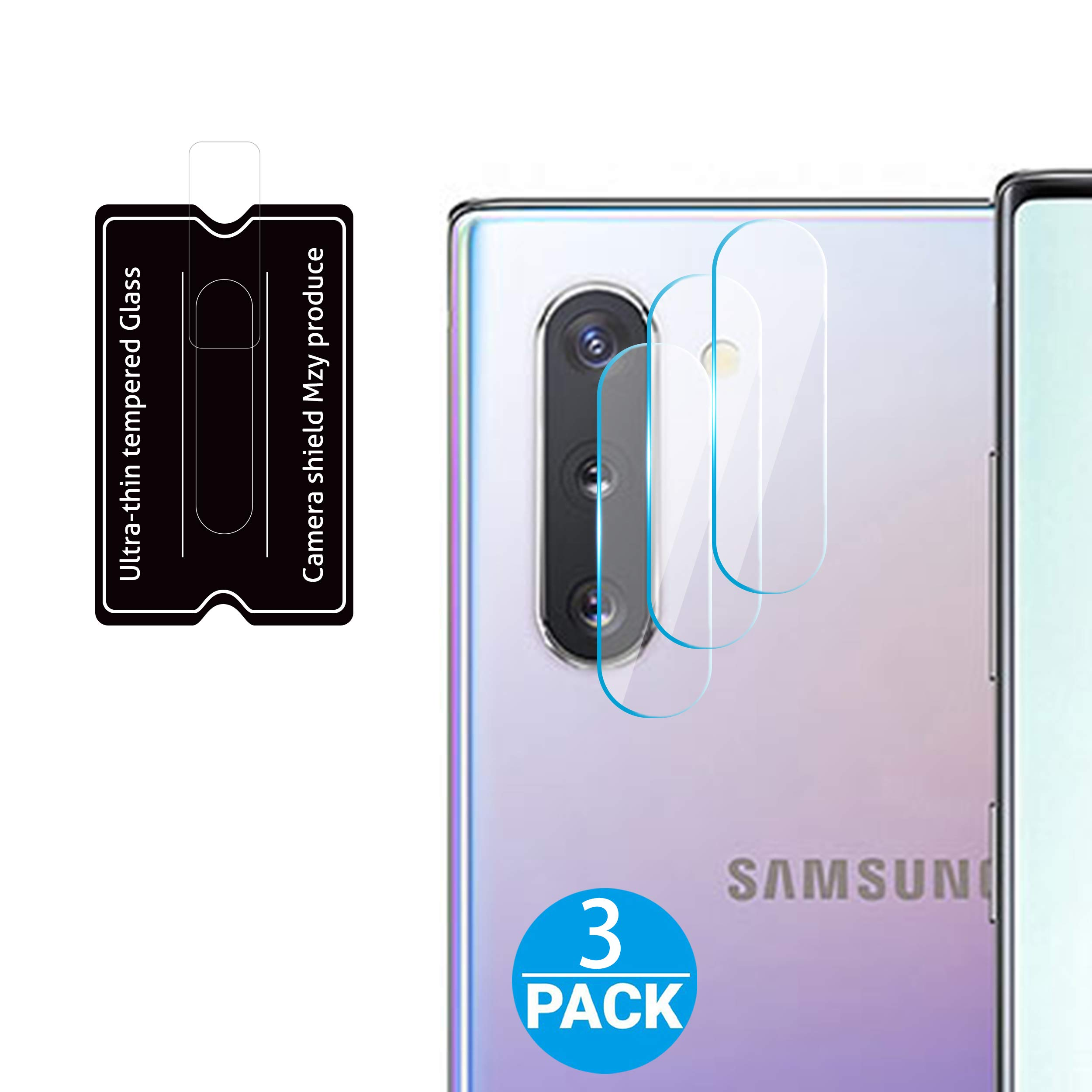 HOMEMO Screen Protector for Galaxy Note 10 / Note10 Plus Camera Lens 3 Pack Tempered Glass 2.5D Edge Advanced HD Clarity Work Most Case