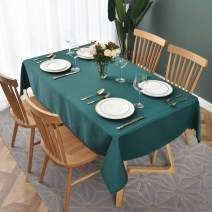 maxmill Jacquard Table Cloth Geometric Pattern Spillproof Wrinkle Resistant Oil Proof Heavy Weight Soft Tablecloth for Kitchen Dinning Tabletop Decoration Rectangle 52 x 70 Inch Dark Teal