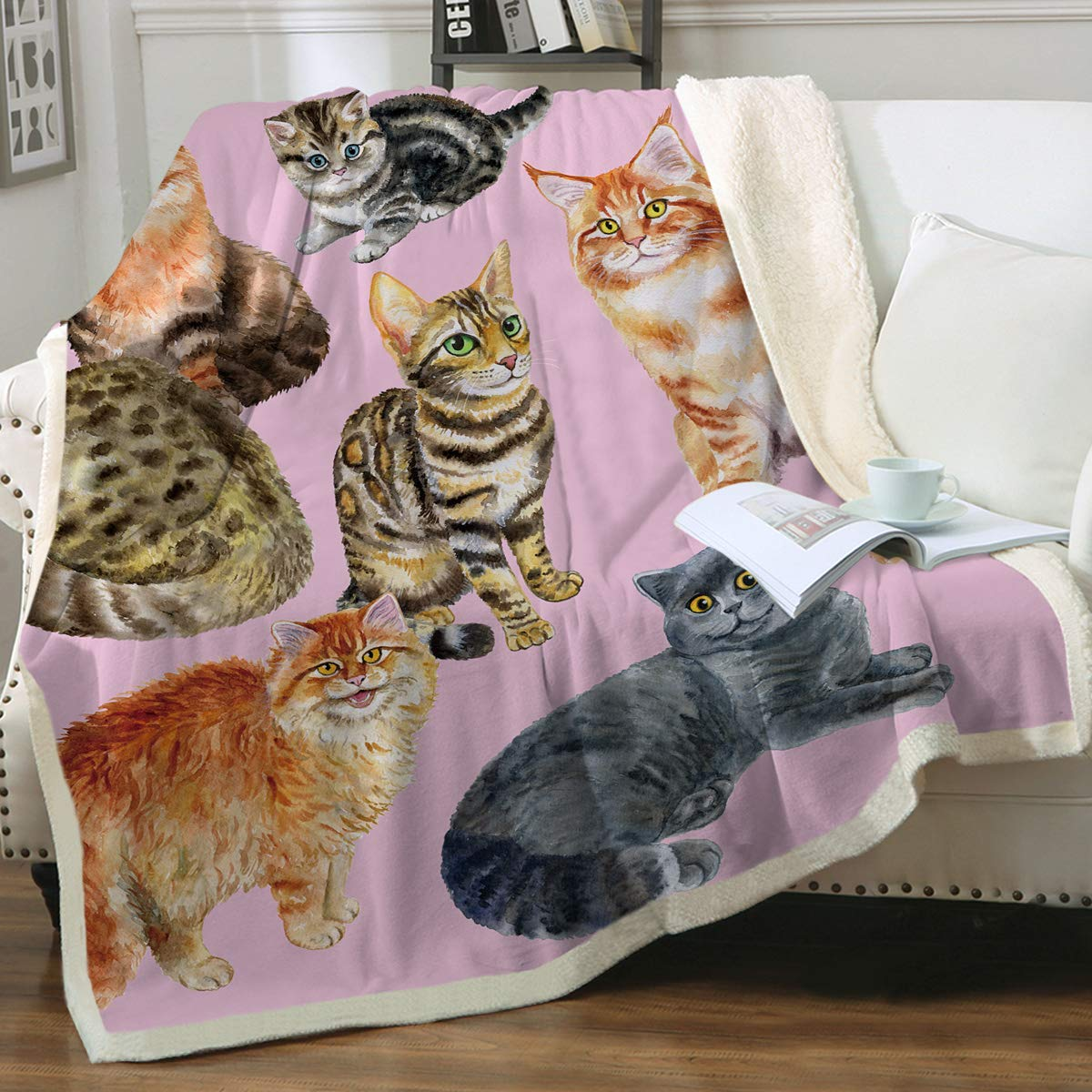 """Sleepwish Watercolor Cat Blankets for Twin Beds, Pink, Girls Adults Women 3D Whimsical Animals Sherpa Fleece Throw Blanket for Couch, Super Soft Warm and Comfy Cat Lover Gifts (60"""" X 80"""")"""
