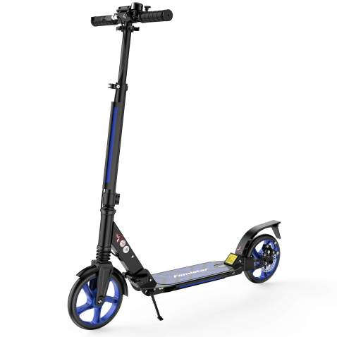 Famistar Foldable Kick Scooters, Adjustable Height, Dual Shock-Absorbing and Double-Brake System, Max. Support: 220 lbs, Large Wheels City Series for Adults and Teens, Kids