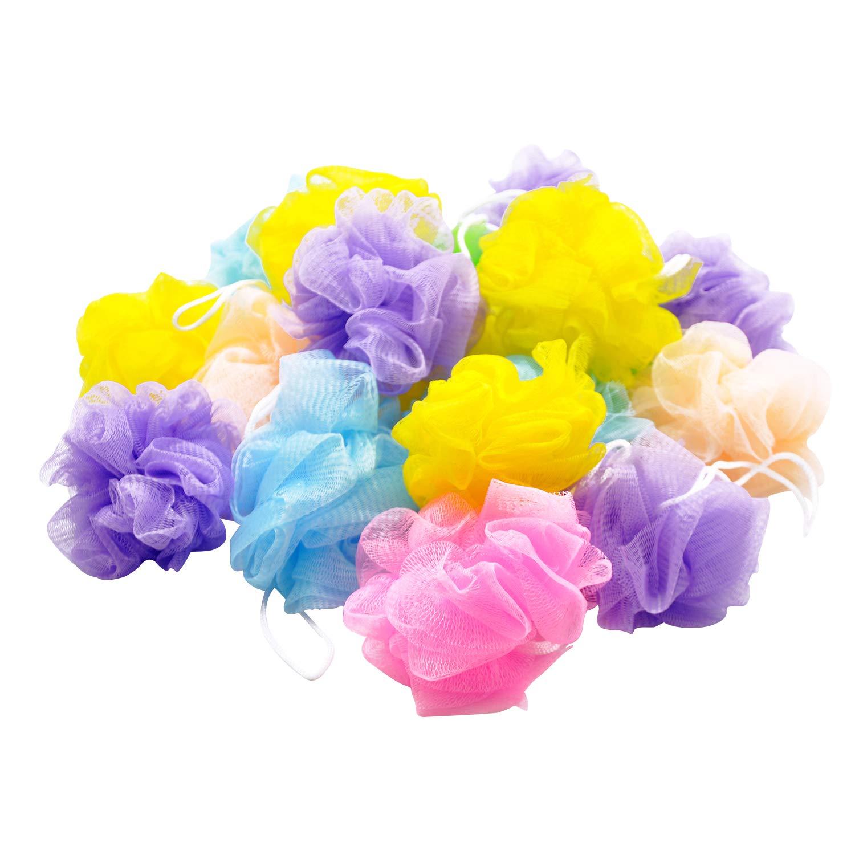 Bath Shower Sponge Loofahs [20 Pack,50g/Pcs] Bulk Assorted Colors, Mini Mesh Pouf Bath Poof Shower Ball, Mesh Bath and Shower Sponge