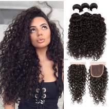 "Perstar Wet and Wavy Human Hair Weave Bundles Water Wave 4 Bundels With Closure Brazilian Virgin Curly Hair Bundles 8A Unprocessed Remy Human Hair Bundles Water Wave Hair Extensions22""22""24""24""+18"""