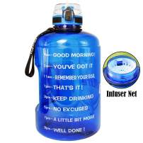 QuiFit Motivational Gallon Water Bottle - with Time Marker & Strainer & Handle 128/73/43 oz Leak-Proof Infuser Water Bottle for Fitness Outdoor Sports Enthusiasts BPA Free