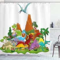 """Ambesonne Dinosaur Shower Curtain, Funny Friendly Dinosaurs in Cartoon Style and Landscape with Trees and Mountain, Cloth Fabric Bathroom Decor Set with Hooks, 70"""" Long, White Green"""