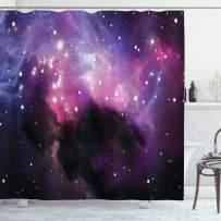 "Ambesonne Space Shower Curtain, Futuristic Nebula Dust Cloud on Milky Way Cosmos Dark Matter Energy Interstellar, Cloth Fabric Bathroom Decor Set with Hooks, 84"" Long Extra, Purple Blue"