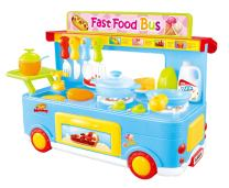 PowerTRC Fast Food Bus Kitchen Play Set | Pretend Play Foods | Pretend Foods | (Blue)