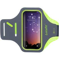 Letsfit Running Armband, Water Resistant Cell Phone Armband for iPhone 8 7 6 6s amsung Galaxy S6/S6 Edge with Key Holder for Running, Walking, Hiking, Green