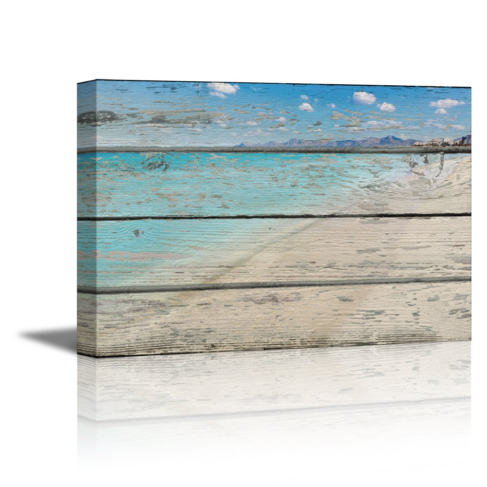 """wall26 Canvas Prints Wall Art - Tropical Beach on Vintage Wood Background Rustic Home Decoration - 16"""" x 24"""""""