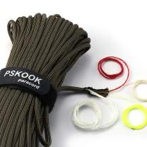 PSKOOK Survival Paracord Parachute Fire Cord Survival Ropes Bushcraft Red Tinder Cord PE Fishing Line Cotton Thread 7+3 Strands 25, 100 Feet