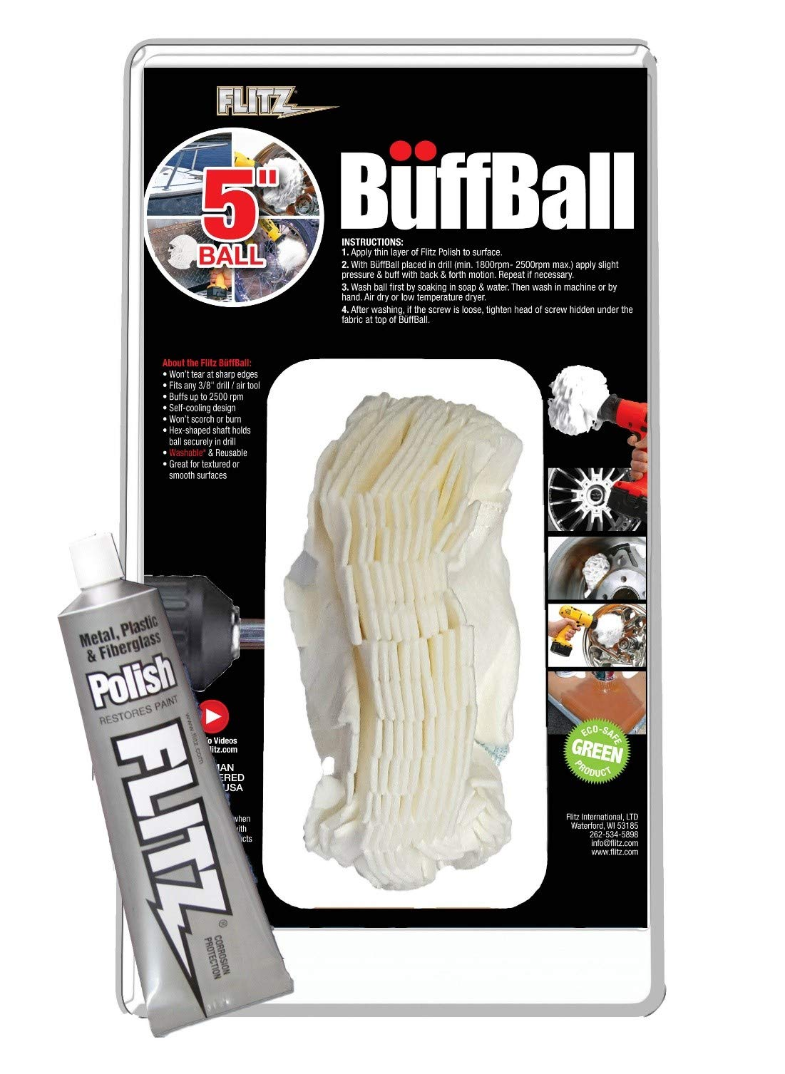 Flitz Buff Ball Car Buffer Drill Attachment with Self-Cooling Design, Never Scorches or Burns + No Exposed Hardware to Prevent Scratches, Buff and Polish Any Surface, Machine Washable, 5 Inch, White
