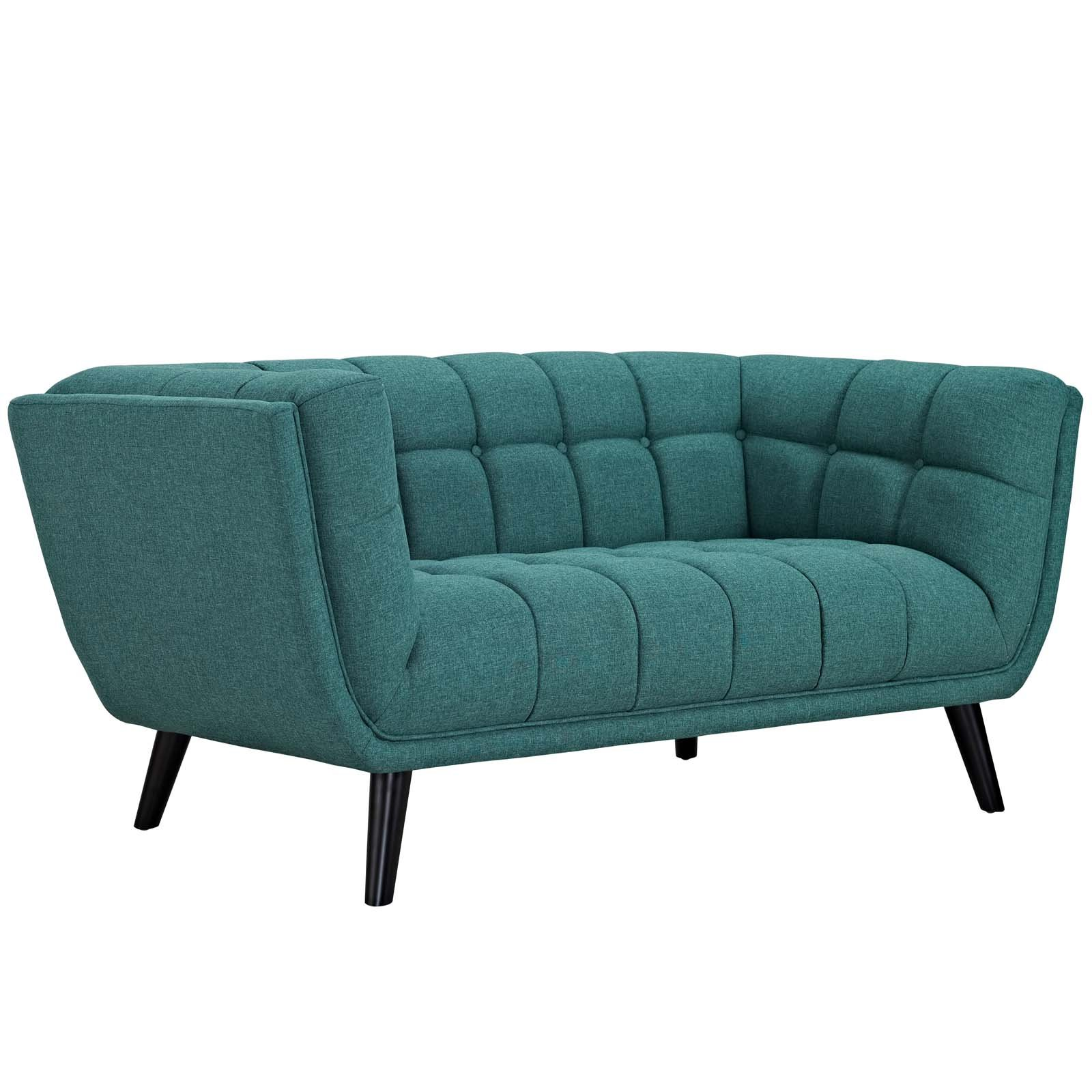 Modway Bestow Upholstered Fabric Button-Tufted Loveseat In Teal