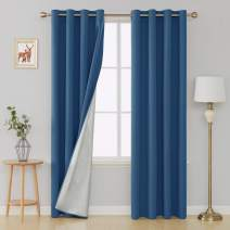 Deconovo Energy Saving Window Panel Grommet Blackout Curtains with Silver Coated Backing Thermal Insulated Drapery Drapes for Baby Room, 52x95 inch, Dark Blue