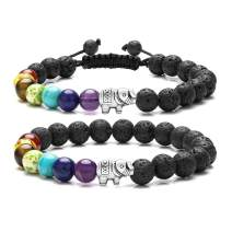 Top Plaza 7 Chakra Bead Bracelet Elephant Gifts Distance Couples Bracelets Lava Rock Stone Healing Crystals Yoga Anxiety Bracelets for Women Men