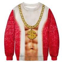 Unisex Christmas Ugly Sweatshirt Men Women 3D Printing Santa Sweater Alpaca Reindeer Unicorn Hoodie & Crew Neck