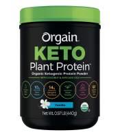 Orgain Keto Plant-Based Protein Powder, Vanilla - Keto Friendly, Organic, Vegan, Gluten Free, Organic Prebiotic Fiber, 0.97 Pound