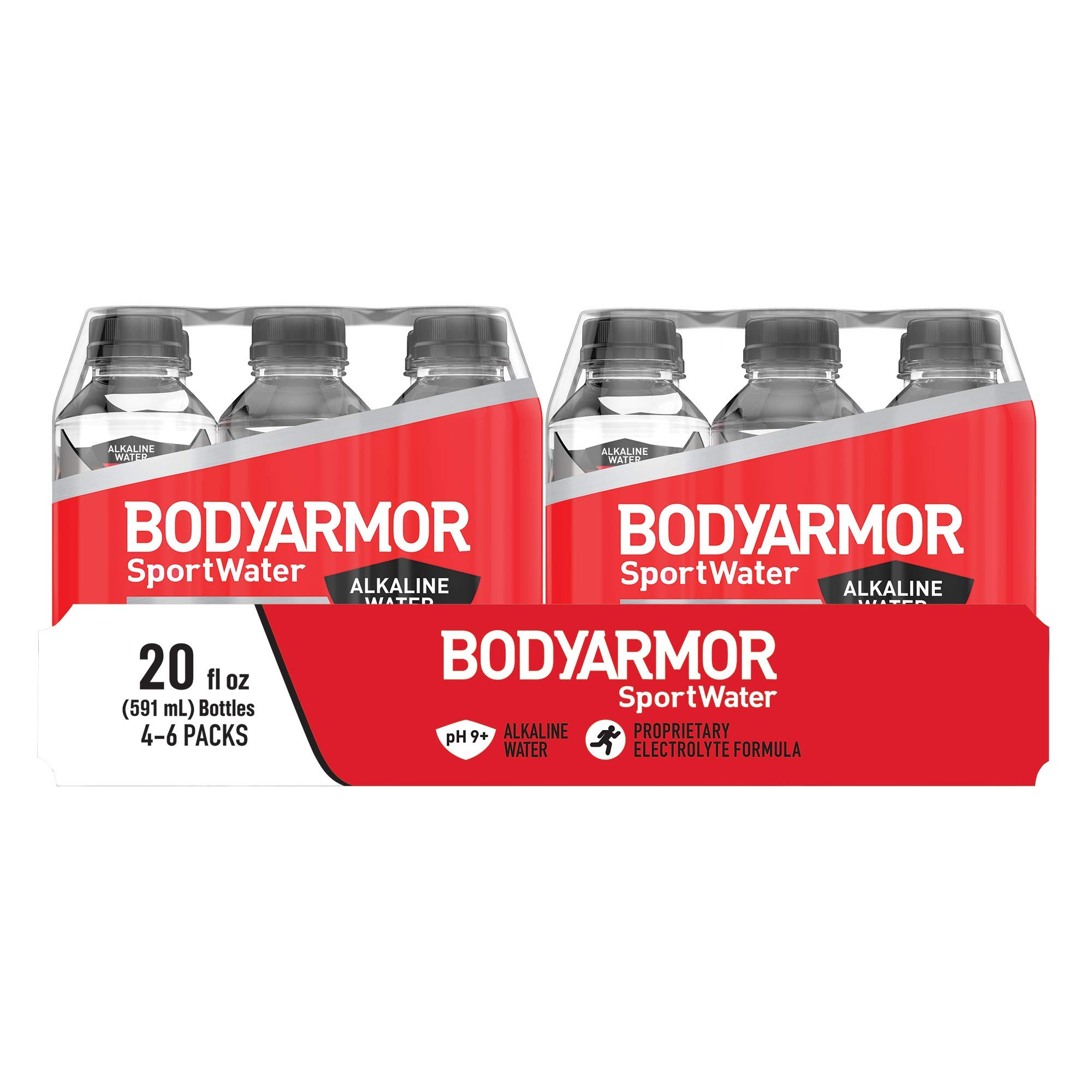 BODYARMOR SportWater Alkaline Water, Superior Hydration, High Alkaline Water pH 9+, Electrolytes, Perfect for your Active Lifestyle, 20 Fl Oz (4 Pack, Case of 6)
