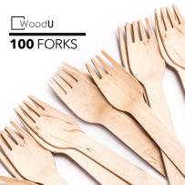 WoodU Disposable Wooden Forks Natural Birch Wood Biodegradable Utensils Cutlery Eco-Friendly Green (100)