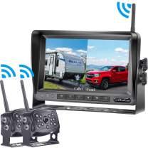 LeeKooLuu HD 960P Digital Wireless Dual Backup Camera 7'' Monitor Split Screen Highway Observation System for Travel Trailers/RVs/Pickup/Trucks/Motorhome IP69K Waterproof Super Night Vision