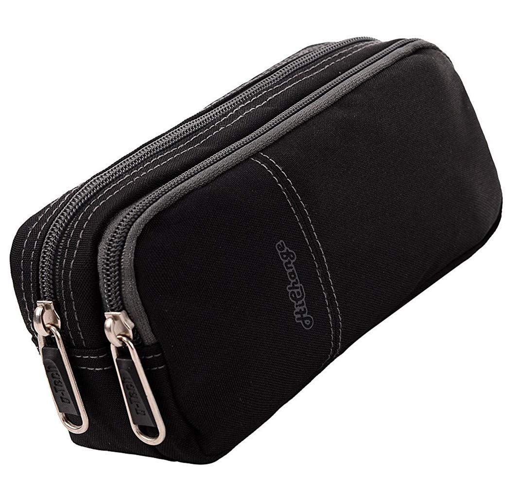 Pencil Case, Large Capacity Pencil Cases Pencil Bag with Two Compartments (Black)