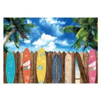 Funnytree Summer Surfboard Beach Themed Party Photography Backdrop Surfs Up Seaside Tropical Hawaiian Island Background Sea Sky Sunshine Luau Aloha Portrait Decorations Photo Booth Studio Props 7x5ft
