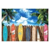 Funnytree Summer Surfboard Beach Themed Party Photography Backdrop Surfs Up Seaside Tropical Hawaiian Island Background Sea Sky Sunshine Luau Aloha Portrait Decorations Photo Booth Studio Props 7x5ft