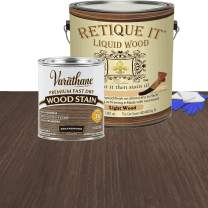 Retique It Liquid Wood - Gallon Light Wood with Briarsmoke Stain - Stainable Wood Fiber Paint - Put a fresh coat of wood on it (128oz LW, Briarsmoke)