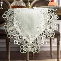 ARTABLE Rectangle Fabric Lace Table Runner Table Runners with Exquisite Macrame Embroidery for Bridal Shower Wedding Party Decorations Long Dinner Tables