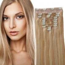 YONNA Clip In Sets 10Pcs Clip In Human Hair Extensions Ash Blonde with Medium Blonde #P18/22 Remy Human Hair Straight For Full Head 14inch 100grams