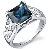 London Blue Topaz Ring Sterling Silver Rhodium Nickel Finish Princess Cut 2.75 Carats Sizes 5 to 9