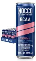 NOCCO BCAA Tropical 12 x 12 Fl Oz Carbonated, ZERO Sugar, Low Calorie, Ready to drink BCAA energy drink from fitness oriented No Carbs Company, Vitamin and Caffeine Flavored Carbonated Drinks