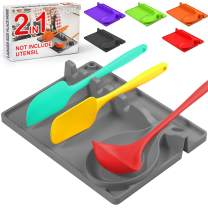 Forc Silicone Spoon Rest 2 in 1 Larger Size Silicone Spoon Holder for Stove Top, Upgraded Utensil Rest with Drip Pad Include 5 Slots & 1 Spoon Holder, Easy to Clean, Hang Hole Design, Grey