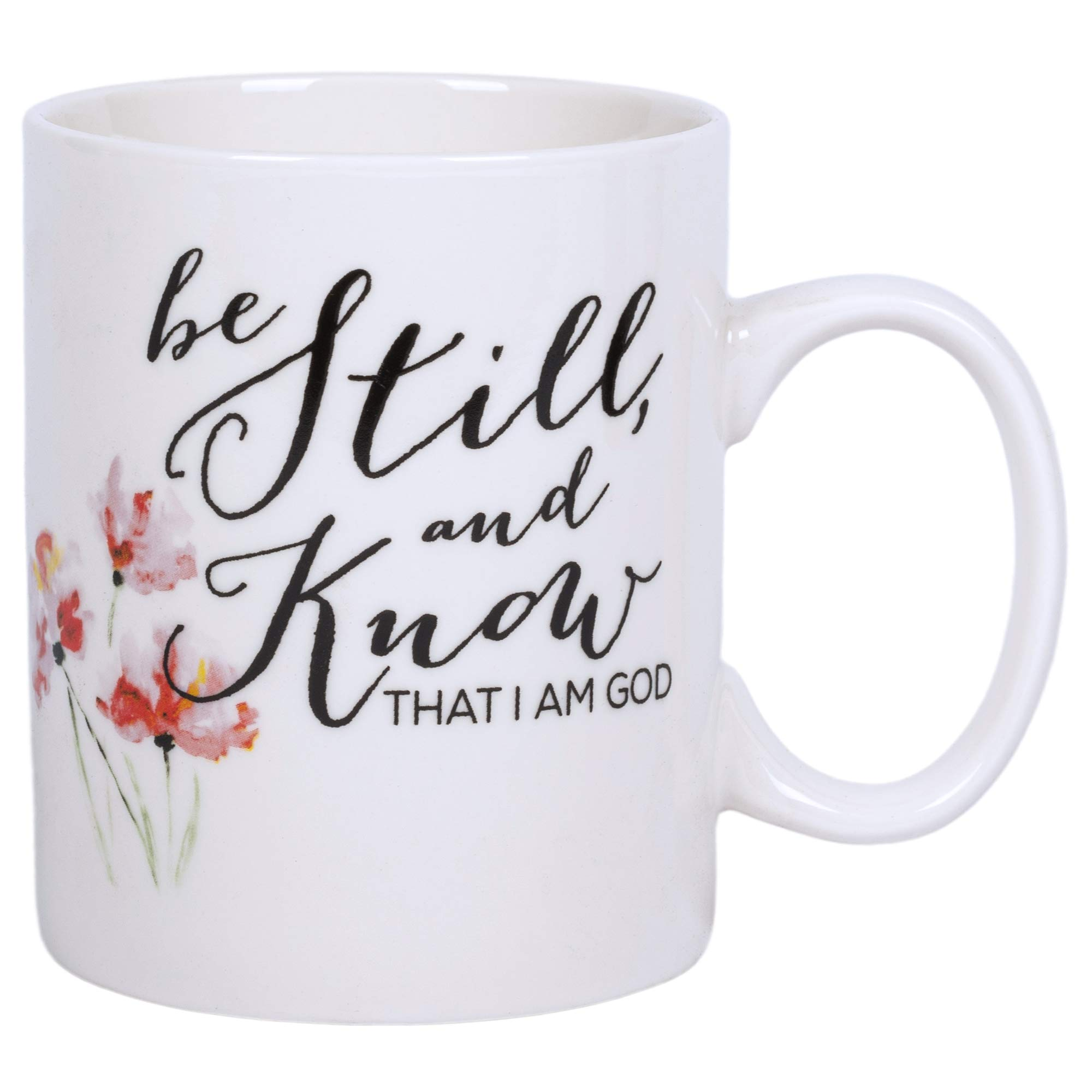 Be Still and Know That I Floral White 15 ounce Glossy Ceramic Coffee Mug