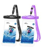 MoKo Waterproof Cellphone Pouch, [2 Pack] Underwater Phone Case Dry Bag with Lanyard Compatible with iPhone 11/11 Pro/11 Pro Max, X/Xs/Xr/Xs Max/8/7, Samsung S20/S10/S9/S8/S10e/Note 10