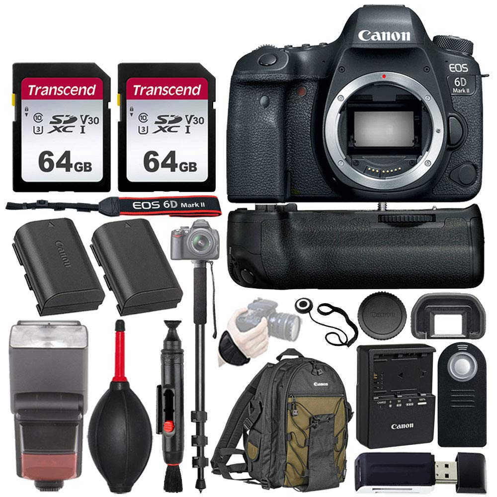"""Canon EOS 6D Mark II Wi-Fi DSLR Camera Body - with Pro Battery Grip, TTL Flash, Canon Backpack,128GB Memory, Replacement Battery for LP-E6N, 72"""" Monopod, RC-6 Wireless Remote, and More.(19 Items)"""