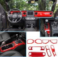 Bestmotoring Red Jeep JL Interior Trim Center Console Cover Trim, Dashboard Decorative Cover, Gear Shift Panel Cover for Jeep Wrangler JL 2018-2020 and Jeep Gladiator JT 2020