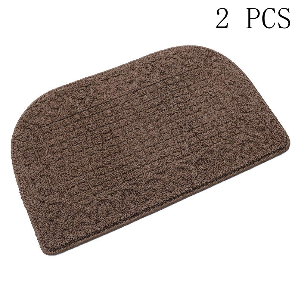 27X18 Inch Anti Fatigue Kitchen Rug Mats are Made of 100% Polypropylene Half Round Rug Cushion Specialized in Anti Slippery and Machine Washable,Brown(2 pcs)