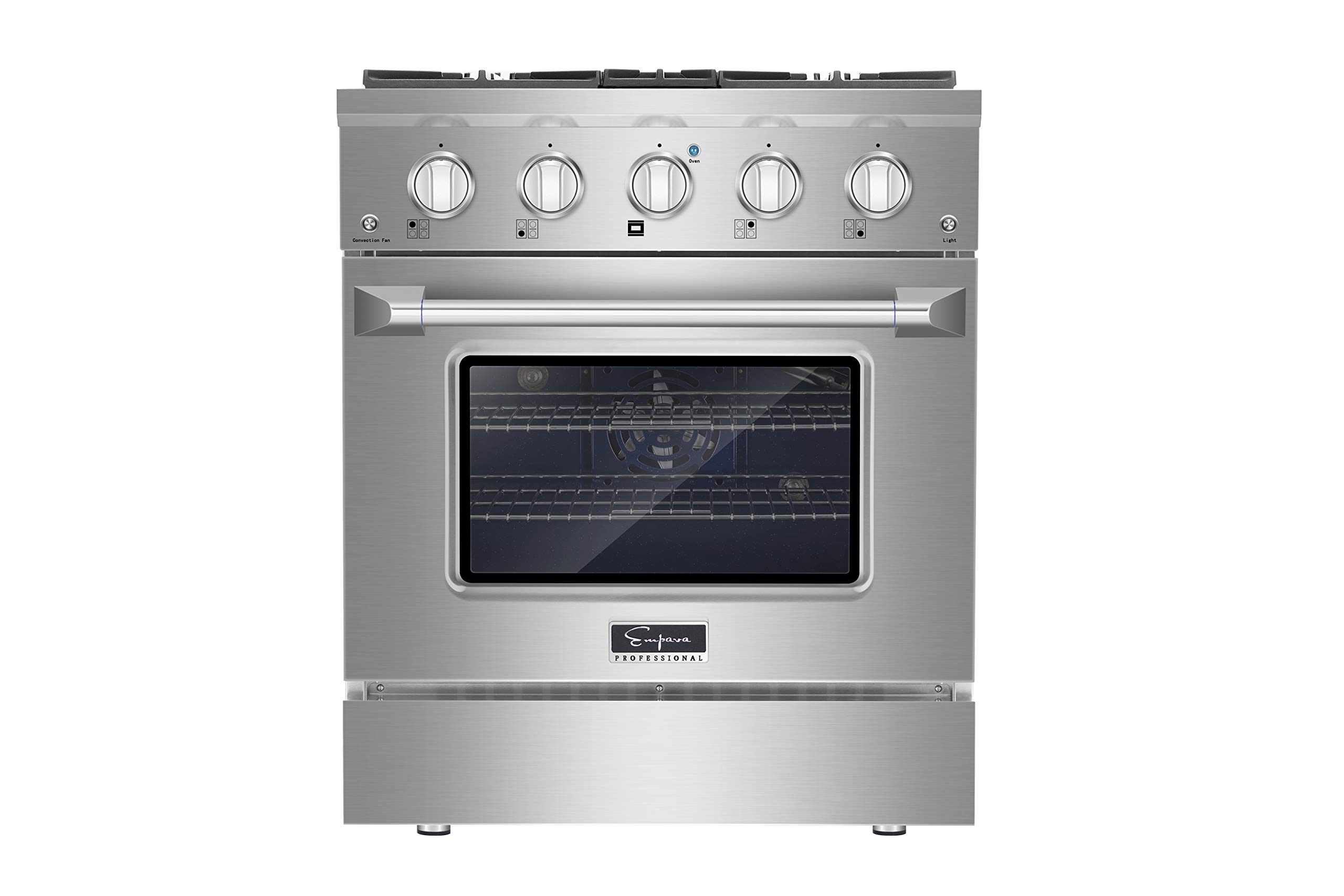 "Empava 30"" Slide-in Single Oven Gas Range with 4 Sealed Ultra High-Low Burners-Heavy Duty Continuous Grates in Stainless Steel, 30 Inch"