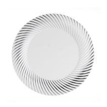 """Party Essentials 24-Count Hard Plastic 6"""" Divine Dinnerware Disposable China Bread and Butter/Appetizer Plates, White with Silver Swirl Rim"""