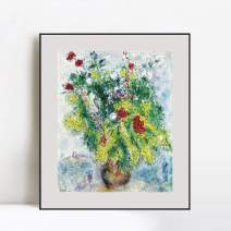 """INVIN ART Framed Canvas Giclee Print Art Flower 20 by Marc Chagall Wall Art Living Room Home Office Decorations(Aluminum Metal Black Frame with Mat & Glass,24""""x32"""")"""