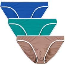 MoFiz Men's Bikini Underwear Briefs Low Rise Bamboo Fiber Breathable Tagless 3-Pack