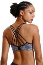 V FOR CITY Women's Crisscross Back Sports Bras Padded Light Support Yoga Bra