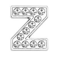 ZHU YU CHUN 50pcs Full Rhinestones 8mm Slide Alphabet Letters Z for DIY Slide Wristbands Bracelets,Jewelry Making Charms