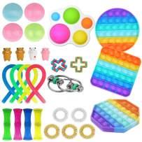 Komoo Fidget Toys Set, Fidgetget Box, Simple Dimple Fidget Toy 25 Packs Cheap, Push Pop Bubble Sensory Toy, Fidgeting Game Kill Time Tools for Kids and Adults (A)