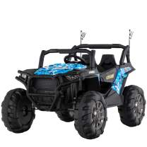 Uenjoy 12V Electric Ride on Cars, Realistic Off-Road UTV, Two Seater Ride On Truck, Motorized Vehicles for Kids, Remote Control, Music, 3 Speeds, Spring Suspension, LED Light (Blue)