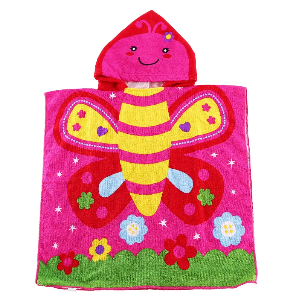 Kids Hooded Beach Bath Towel Poncho for Toddler Infant Boys Cute Soft Cartoon Swim Towels Wrap with Hood for Girls (pansy01, 2-7 Years)