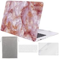 Sykiila for MacBook Air 11 Inch Case Hard Cover 4 in 1 HD Screen Protector & TPU Keyboard Cover & Sleeve Protective Folio Case for Model A1370 / A1465 - Pink Marble