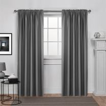 """Dreaming Casa Solid Room Darkening Blackout Curtain for Bedroom 84 Inches Long Draperies Window Treatment Grey Rod Pocket 2 Panels 52"""" W x 84"""" L"""